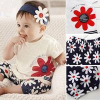 Baby Girls Flower Headband+Tops+Pants Shorts Outfits 3pcs Set Clothes 0-3 Year Free shipping & Drop shipping