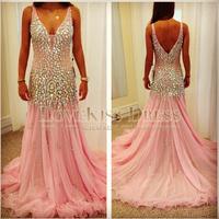 2014 Vestido De Festa Real Made Sexy V Neck Sleeveless Crystal Beading A Line Pink Chiffon Long Prom Evening Dress New DYQ962