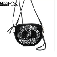 Retail Wholesale Panda Head Print Bags Women 2014 rhinestones one shoulder cross-body Leather Handbags Animal Small Message Bag