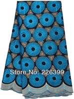 2014 african swiss voile lace high quality,embroidered cotton wedding lace with stone,Black+turkey blue,5 yards TKL8842