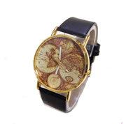 Wholesale 3 colors High Quality Map Dial Leather Strap Watch Women Men fashion dress Quartz Wristwatches ma-1