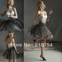 Cute Girls Sweetheart Black Organza Beaded A-line Mini Short Homecoming Dresses Graduation Party Gown Weddings&Events 2014