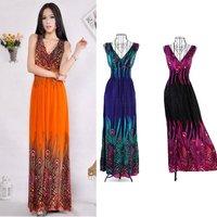 2013 Long Style Deep V-Neck Bohemia Beach Dress Peacock Maxi Dress Wholesale! Drop shipping Support!