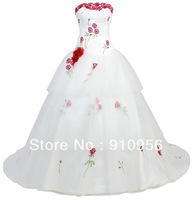 FairOnly Romantic Strapless Embroidery Organza Ball Gown Wedding Dresses Civil Wedding Dress