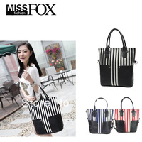 Retail Wholesale Promotion Fashion Large Capacity Canvas Women Handbag stripe Print Shoulder Bag Women Message Bag Free Shipping