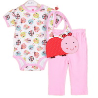 3sets/lot ,2014New Baby Girls Set, Lovely Ladybug Model (Bib+ Short Sleeve Jumpsuit+Pants)3pcs Suit,Free Shipping(In Stock)