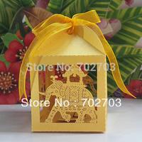 FEDEX Free shipping 600 pcs/lot wedding party gold candy box pearl paper laser Cut wedding favor box