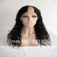 Middle part U part wigs,Malaysian virgin hair U part wigs,half handmade,pretty curly texture,18inch,natural color Hotsale