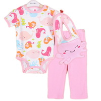3sets/lot ,2014New Baby Girls Set, Lovely Animal Model (Bib+ Short Sleeve Jumpsuit+Pants)3pcs Suit,Free Shipping(In Stock)