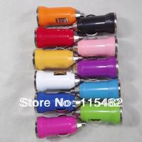 11 different colors Mini car charger usb charge car cigarette lighter car charger 11colours 1000pcs/lot