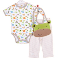3sets/lot ,2014New Baby Boys Set, Lovely Cow Model (Bib+ Short Sleeve Jumpsuit+Pants)3pcs Suit,Free Shipping(In Stock)