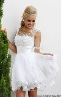 Free Shipping 2014 A-line White Organza Short Above Knee See Through Backless Appliques Sparkle Pearls Prom Dress