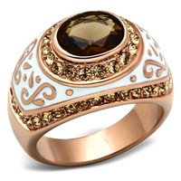 Super Sell Ionic Rose Gold Plated Brass Rings Brown Synthetic Glass Women Rings Lead & Nickel Free Light Smoked Topaz Crystals