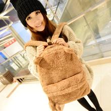 2014 Cute Plush teenager School bag Book Campus Backpack Cute Bear Design wholesale&retail drop shipping(China (Mainland))