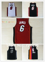 Free shipping!TOP quality Miami lebron JAMES #6 Basketball jersey, Embroidery logos,Size 44--56, all color
