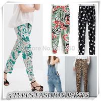 2014  New Fashion women's Elegant Floral print pants slim look loose trousers casual leisure brand designer pants