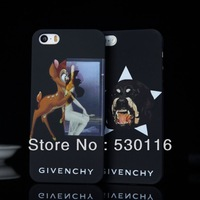 New Luxury Case for iPhone 5 5S Promotion Absolutely Top Quality Deer and Dog Luxury Matte brand with Retail Package+3Pcs/lot