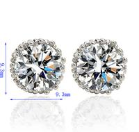Wholesale Multi Prongs 8mm 2ct Top Quality Swiss CZ Diamond Stud Earrings