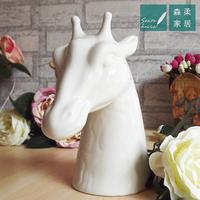 American classic white porcelain pots deer fashion creative desktop decoration flowerpot vase ceramic vase Continental statuette