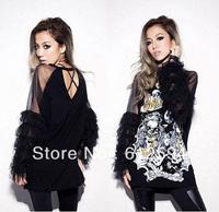 2014 new women skull tassel rock gauze cotton loose long t-shirt ladies sexy korean style hip hop party tops/tees/tunics/blouse