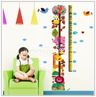 Owl Zoo Cartoon tall wall-stickers Wall Stickers Height stickers children's room Removable Children's Height Cartoon stickers