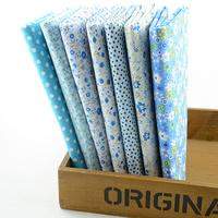 "7 Pieces/lot 50CMx50CM ""cute blue"" Cotton Fabric Fat Quarters bundle Tilda cloth Patchwork Quilting Fabric scrapbooking 004#"