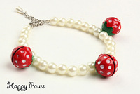 Luxury pet dog cat pearl necklace with pink red strawberry bell Pet produt for dogs and cats puppy Dog collar cute Free Shipping
