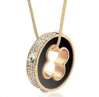 wholesale 18k gold white gold plated luxury crystal round pendant necklace fashion gift jewelry 1204