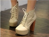 2014Fashion Drawstring High Heel Ankle Boots Apricot send from russia GZ12010405