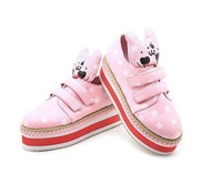 2014 New Fashion Girl's Cute Rabbit Thickness Bottom Star Printed Leisure Buckle Flat Shoes Pink/White/Blue Sent From Russia