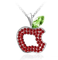 wholesale 6 colors white gold plated austrian crystal APPLE necklaces & pendants fashion jewelry 1118