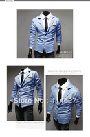 Free shipping Fashion turn-down collar leather slim knitted Men Blazer outdoor jacket Slim Suit for men