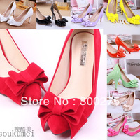 2014 pointed toe single shoes female sweet bow high-heeled shoes thin heels shallow mouth wedding shoes single sexy shoes