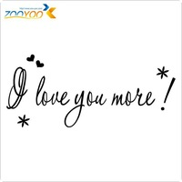 "English Quotes "" I Love You More "" Vinyl Wall Decals 2014 Hot Selling Room Wall Stickers ZooYoo 8178"