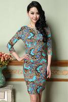 Newest 2014 Spring European Style Fashion ice silk V-neck printed Flower Slim waist Dress Plus Size XXXL Free Shipping