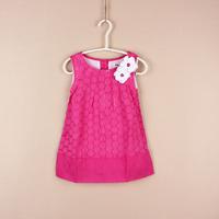 2014 Fashion Designer Girl Princess Lace Sleeveless One Piece Dress with Flowers  Brand Kids Dress