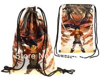 FREE shipping Anime Attack on Titan Print Drawstring Backpack Bag Sz 36 x 50 cm
