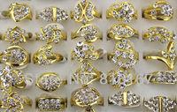 Fashion Wholesale mixed lots 50pcs massive rhinestone Beautiful bright gold plated lady's rings w3332 Free shipping