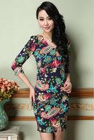 2014 European Style women's new spring printed flower V-neck slim waist dress Vintage Retro Dress plus size S-XXXL