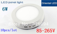 hot sale 10pcs free shipping Bright Led Panel Light 6w/12w/18w downlight ceiling lightsRound Shape With Power Adapter AC85-265V