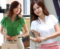 Fashion 2013 summer women's chiffon short-sleeve shirt ol stand collar casual shirt High quality.