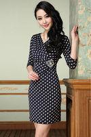 Newest Arrival Spring European Style Fashion Dot Printed Flower Dress Beaded Slim Dress Plus Size XXXL Free Shipping