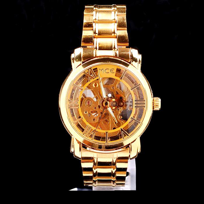 2014 New Mens Luxury Watch,men dress watches men's fashion golden wristwatch ,lady geneva gold Skeleton Mechanical Men's Watch(China (Mainland))