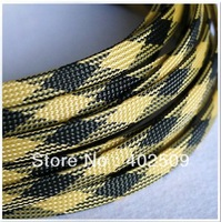 black+yellow flat dia:12mm 32feet--10M/lot high temperature braided polyester sleeve for cable protection top sale