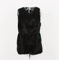 Vest rex rabbit hair thermal black V-neck Sleeveless Faux Fox Long Black Waistcoat Design Vest For Women thick covered botton