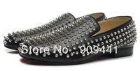 Red Bottom Men Rivets Spike Flat Sneakers Dress Party Shoes, High Quality Spikes Loafers name brand