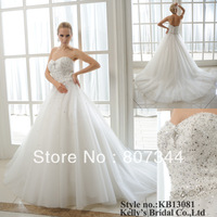 beaded and tulle ball gown with sequin sweetheart wedding dress