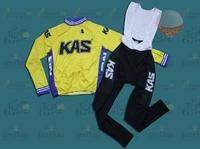 2014 Kas cycling jersey + cycling bib pants sets KAS cycling/bicycle/bike clothing set long sleeve cycling jersey