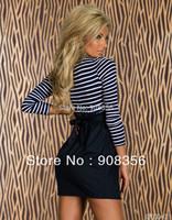 Plus Size M L Autumn Winter Dress New 2014 Women Sexy Striped Patchwork Long Sleeve Mini Dress Lady Blue Casual Min Dresses 0448