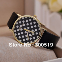 JW019 Fashion Casual Women Wristwatches Polka Dots Watches Quartz Leather Strap Clocks Women Dress Watches Relogio